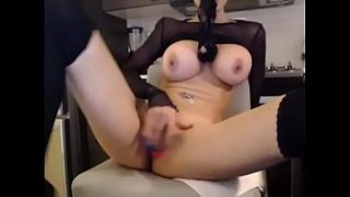 Real amateur with busty tits masturbating on cam